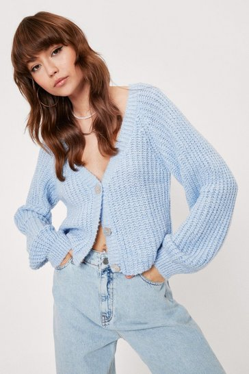 Baby blue Keep Knit Chilled V-Neck Cropped Cardigan