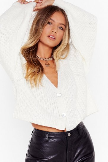 Womens Cream Get Knit Right V-Neck Cropped Cardigan