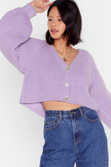 Lilac Keep Knit Chilled V-Neck Cropped Cardigan