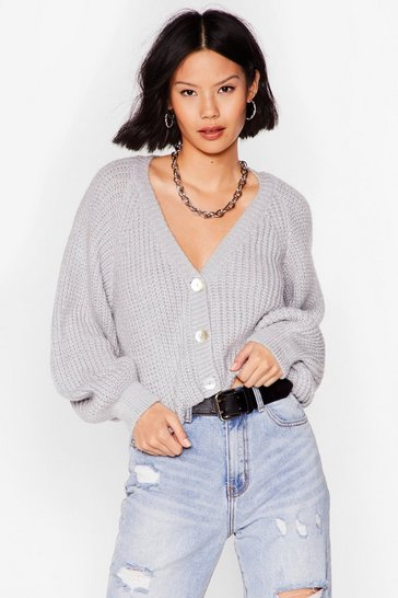 Silver grey V-Neck Cropped Cardigan with Button-Closure