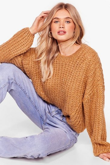 Womens Camel Knit Back and Wait Balloon Sleeve Sweater