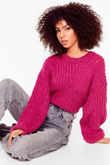 Womens Magenta Knit Back and Wait Balloon Sleeve Sweater