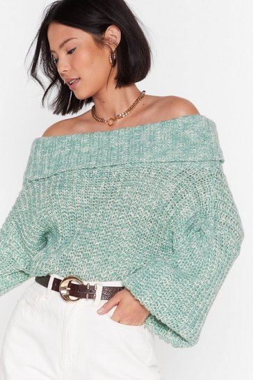 Green Knit's a Winner Off-the-Shoulder Sweater