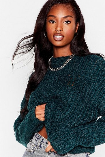 Bottle green You're Getting Warmer Pointelle Knit Sweater
