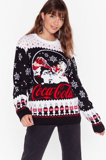 Womens Black Holiday's Are Coming Coca Cola Sweater