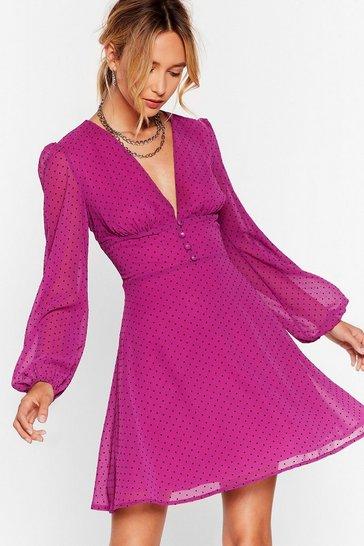 Magenta It's Dot Our Fault Button-Down Mini Dress