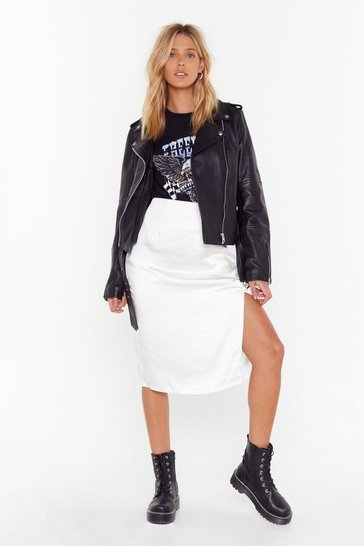 White Just a Little Split Satin Midi Skirt