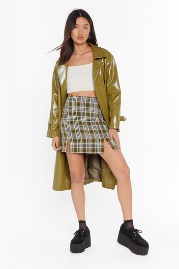 Womens Khaki Check Your Slit High-Waisted Mini Skirt