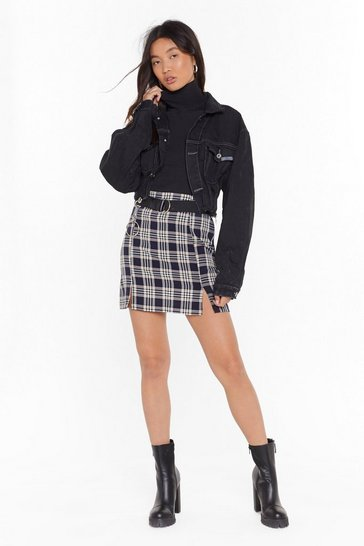 Navy Plaid Yourself High-Waisted Mini Skirt