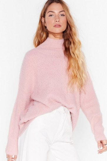 Womens Blush Knit by Knit High Neck Fluffy Sweater