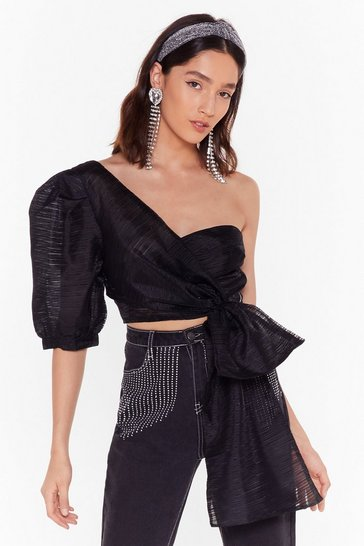 Womens Black One Shoulder Tie Top