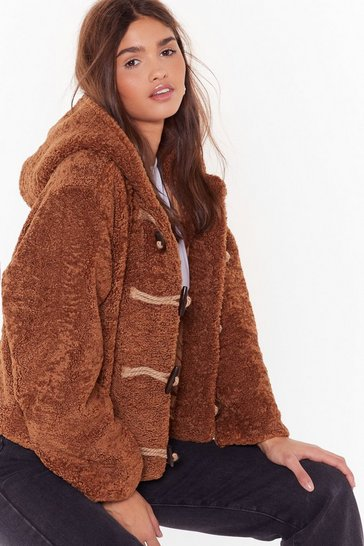 Womens Camel Can I Toggle Along Faux Shearling Coat