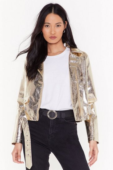 Gold Glow For It Metallic Moto Jacket
