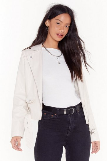 Womens Ecru It's Now Or Faux Leather Cropped Moto Jacket