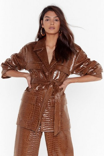 Tan Croc Faux Leather Vinyl Belted Jacket