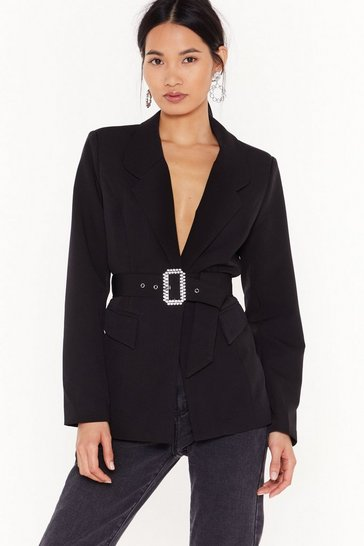 Womens Black Diamnate Buckle Blazer