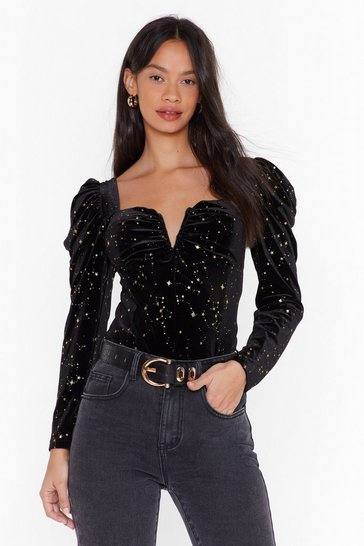 Womens Black Star Struck Velvet Puff Sleeve Top
