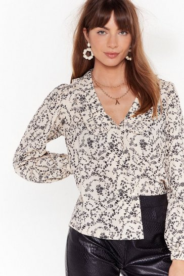 Stone Are You Frill Here Floral Button-Down Blouse