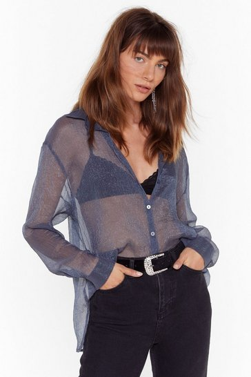 Womens Charcoal Come Sheer-er Shimmer Relaxed Shirt
