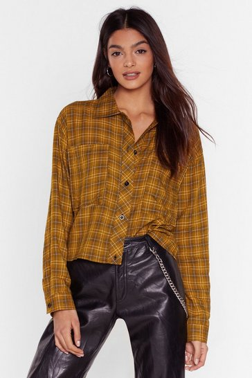 Mustard Check Your Game Cropped Button-Down Shirt