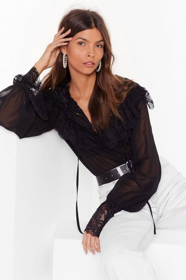 Black Lace Face the Facts Tie Blouse