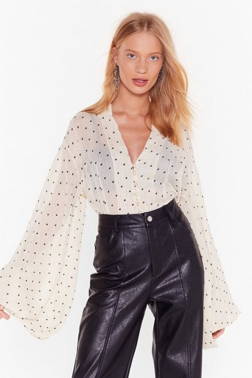 Womens Cream Sheer's Our Shining Star Relaxed Blouse