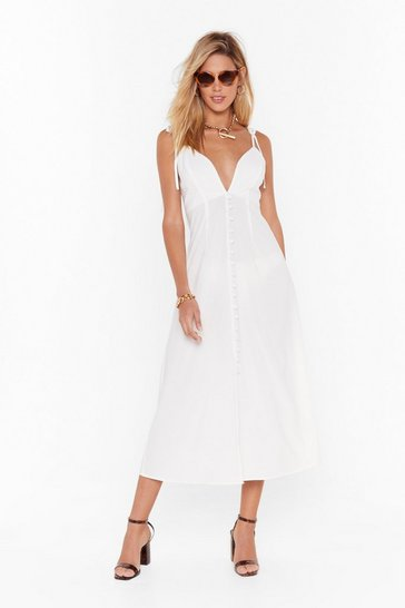 Womens White Tie to Dig Deep Button-Down Midi Dress
