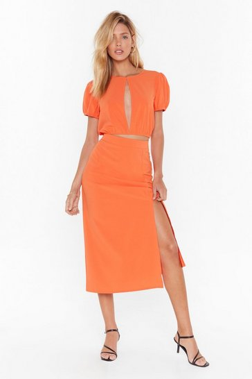 Orange Hey Hey Vacay High-Waisted Midi Skirt
