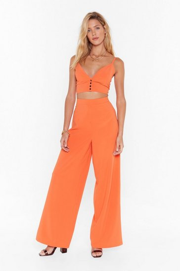 Womens Orange When the Sun Goes Down Wide-Leg Trousers
