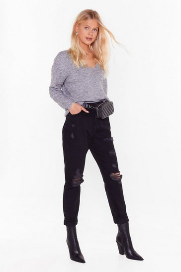 Womens Black Get Rip Right Denim Mom Jeans