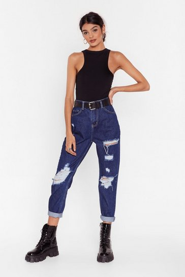 Womens Dark blue Get Rip Right Denim Mom Jeans