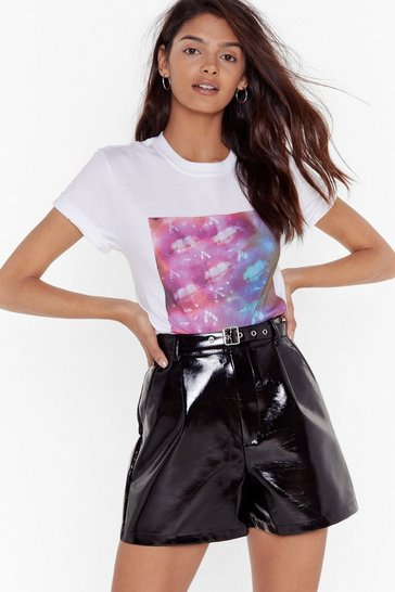 Womens White Kaleidoscope Lips Tee
