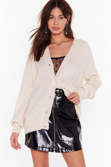 Womens Cream Knit Breaking My Heart Longline Cardigan