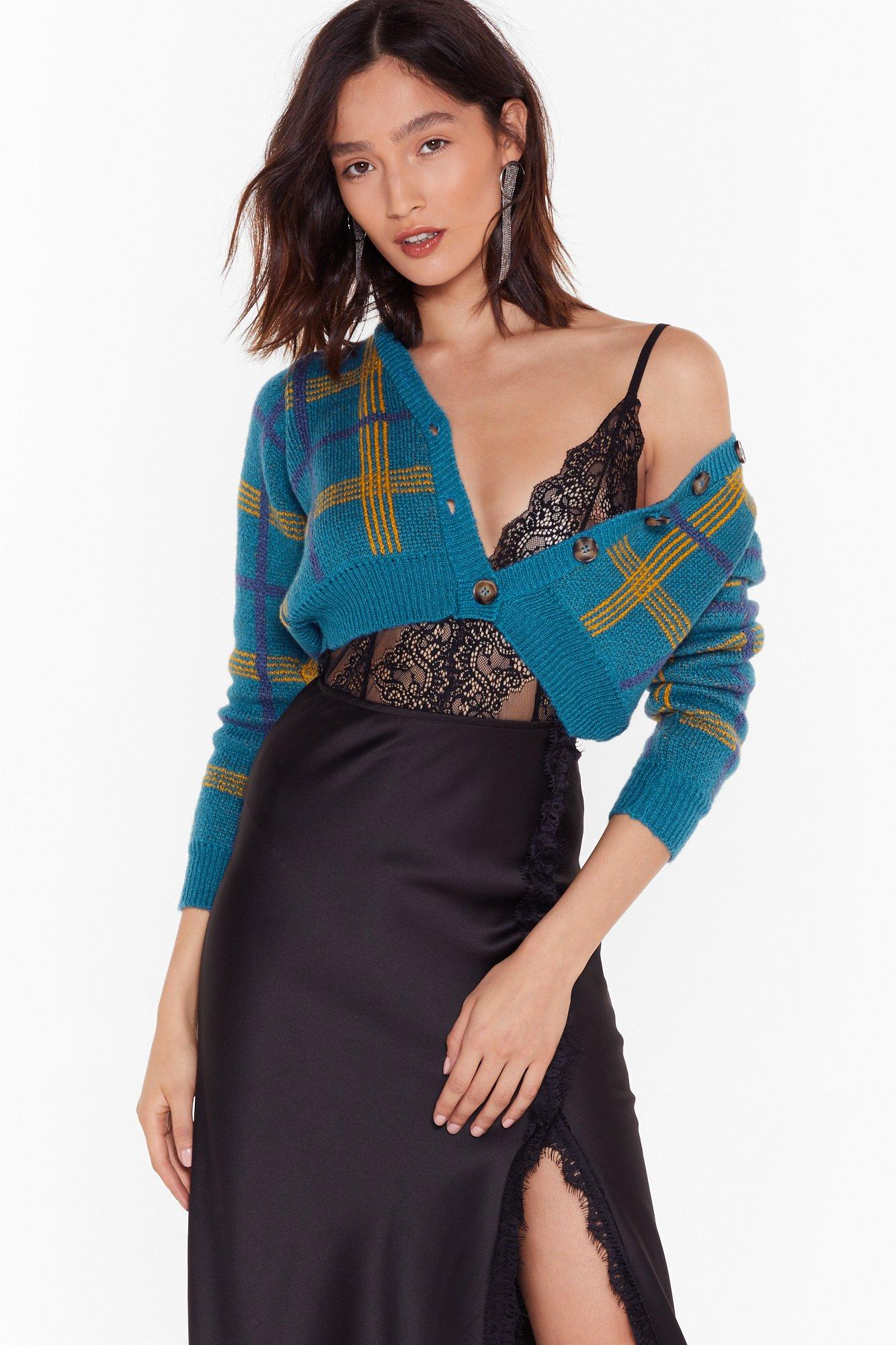 Remember To Wrap Up Cropped Tartan Cardigan by Nasty Gal