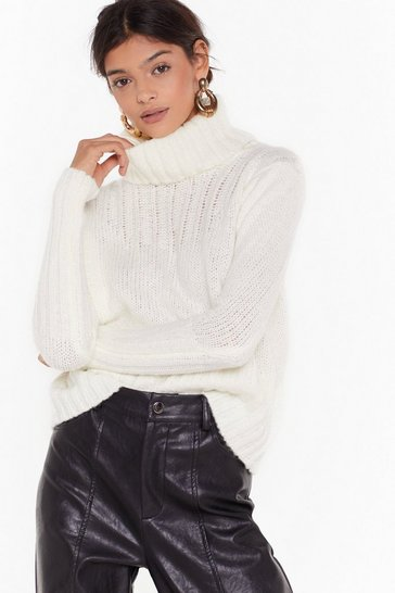Womens White Can You Feel the Heat Turtleneck Sweater