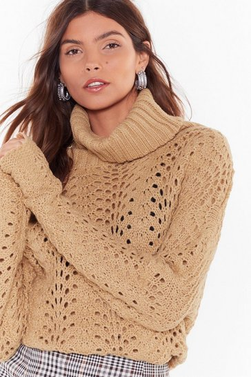 Womens Camel One Pointelle Perspective Turtleneck Sweater