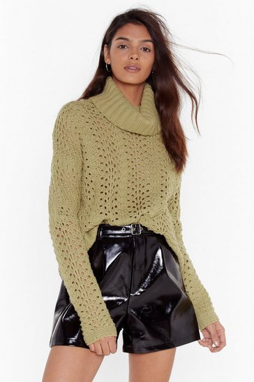 Womens Olive One Pointelle Perspective Turtleneck Sweater
