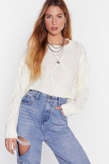 Womens Cream Hello Winter Cable Knit Cropped Sweater