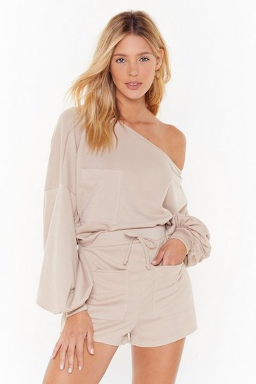 Womens Oatmeal Better Off-the-Shoulder Sweatshirt and Short Lounge Set