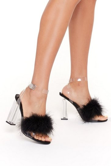 Womens Black Go That Extra Mile Fluffy Perspex Heels