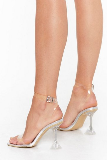 Womens Silver It's All So Clear Now Clear Stiletto Heels