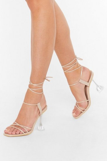 Nude What Makes Me Strappy Clear Stiletto Heels