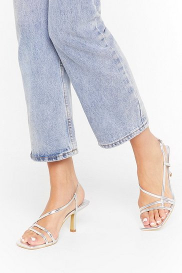 Womens Silver Skinny strappy kitten sandals