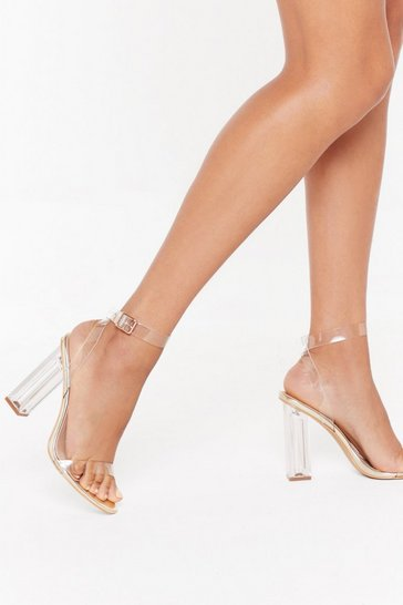 Womens Gold Let's Be Clear Metallic Perspex Heels