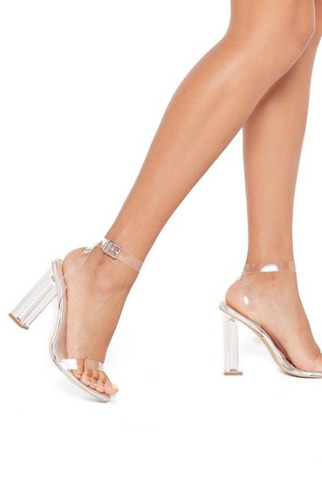 Womens Silver Let's Be Clear Metallic Perspex Heels