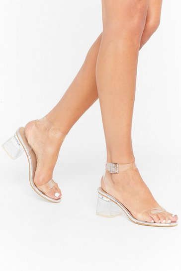 Womens Silver Steer Clear of 'Em Metallic Perspex Heels