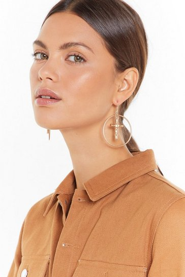 Womens Gold If You Cross Her Drop Hoop Earrings