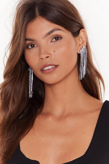 Womens Silver Can't Hear a Bling Diamante Drop Earrings