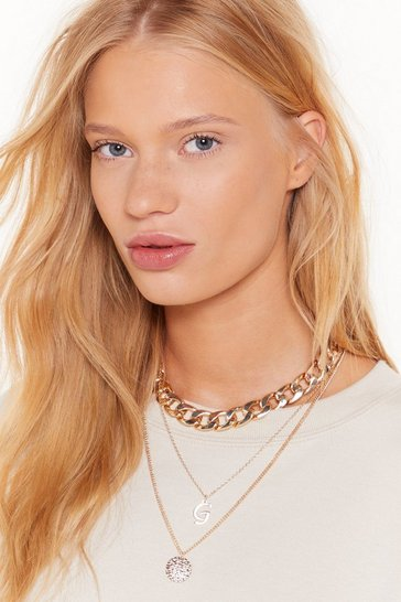 Womens Gold Initial Impressions G Chain Layered Necklace