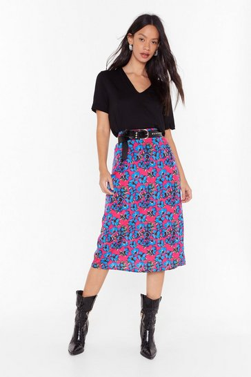 Pink Growing Us the Way Floral Midi Skirt